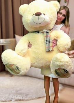 Большой мягкий медведь Оливер 140 см жемчужный
