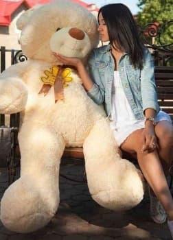 Большой медведь тедди Барни 160 см жемчужный