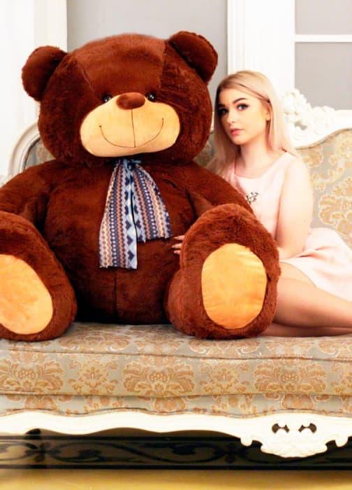 Мягкая игрушка медведь большой Барри 170 см темный шоколад