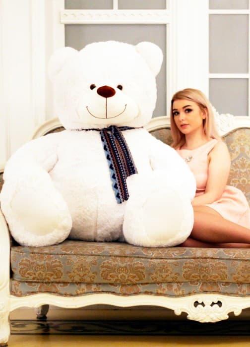 Большая мягкая игрушка белый медведь Барри 170 см