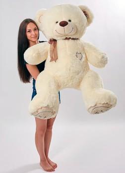 Мягкая игрушка большой медведь Орион 150 см молочный