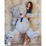 Мягкая игрушка огромный медведь Тедди 190 см серый